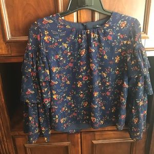 Madewell Navy Floral Blouse Small